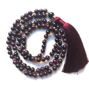Garnet Mala Beads, 108 Mala, Mala Necklace, Tassel, Yoga Jewelry, Meditation Beads