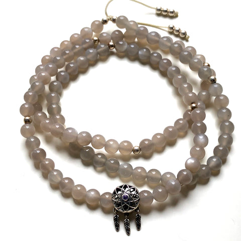Grey Moonstone Beads, 108 Mala, Mala Necklace, Rose Quartz Charm