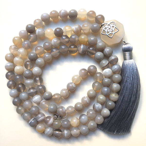 Agate Mala Beads, 108 Mala, Mala Necklace, Mandala, Yoga Schmuck, Meditation