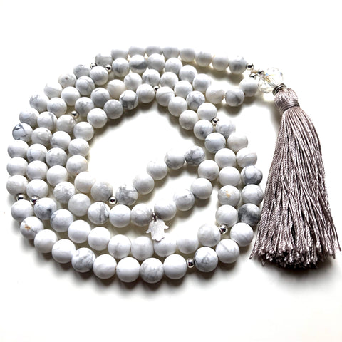 Howlite Mala Beads, Hamsa Charm, Yoga Necklace, Yoga Schmuck, 108 Mala