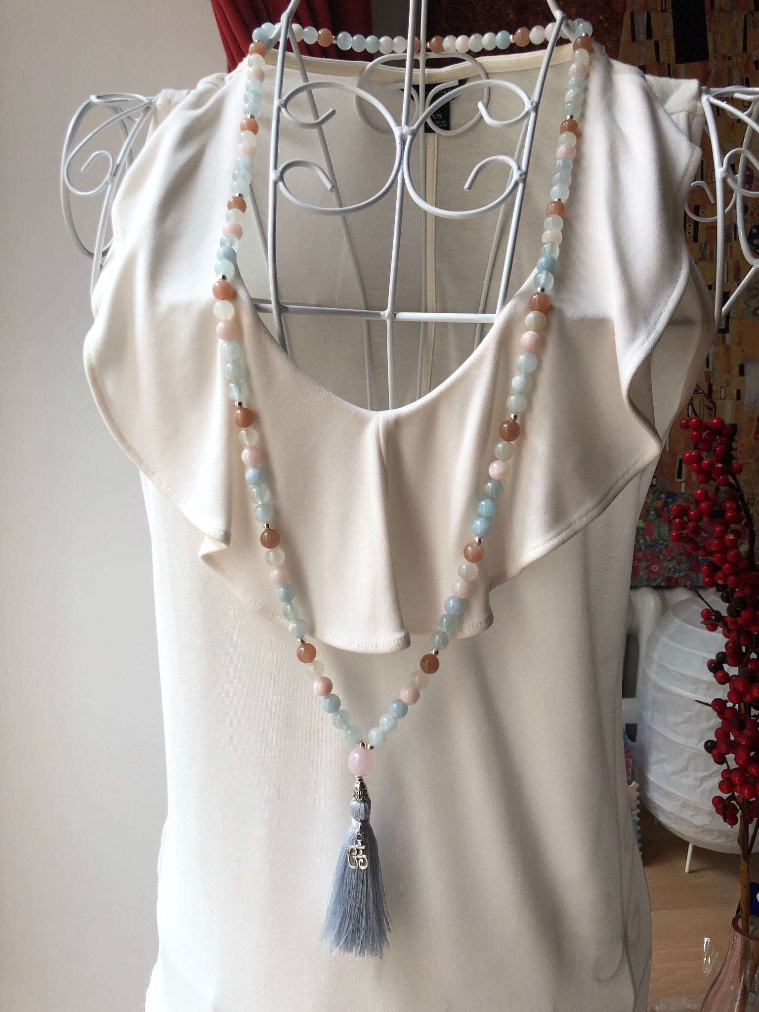 Custom Mala: Moonstone, Aquamarine, Jade Mala Beads, Yoga Necklace