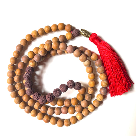 Jasper Mala Beads, Lavastone Yoga Necklace, 108 Beads Mala, Red Tassel, Brown Mala
