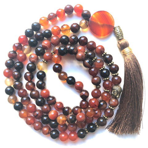 Agate Mala Beads, 108 Mala, Mala Necklace, Tassel Necklace, Yoga Jewelry