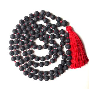 Black Lavastone Mala Beads, Knotted Yoga Necklace, 108 Beads Mala, Red Tassel