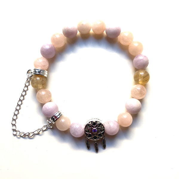 Kunzite Mala Bracelet, Morganite Wrist Mala, Citrine Yoga Bracelet, Dream Catcher