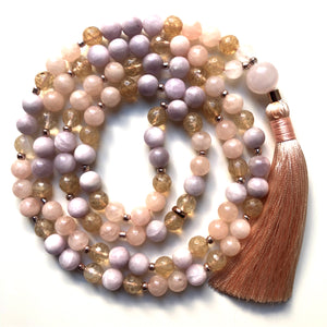Kunzite Mala Beads, Citrine 108 Mala, Morganite Mala Necklace, Yoga Jewelry, Meditation Beads