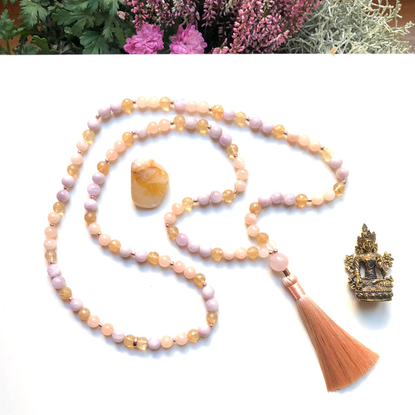 Aria Mala Atelier's unique one-of-a-kind Kunzite,morganite, citrine gemstone meditation japa mala with rose quartz guru bead is for yoga meditation empowering spiritual daily practise and intention setting