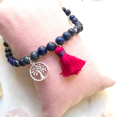 Aria Mala Atelier's unique one-of-a-kind Lapis Lazuli with Tree of Life sterling silver charm for spiritual living