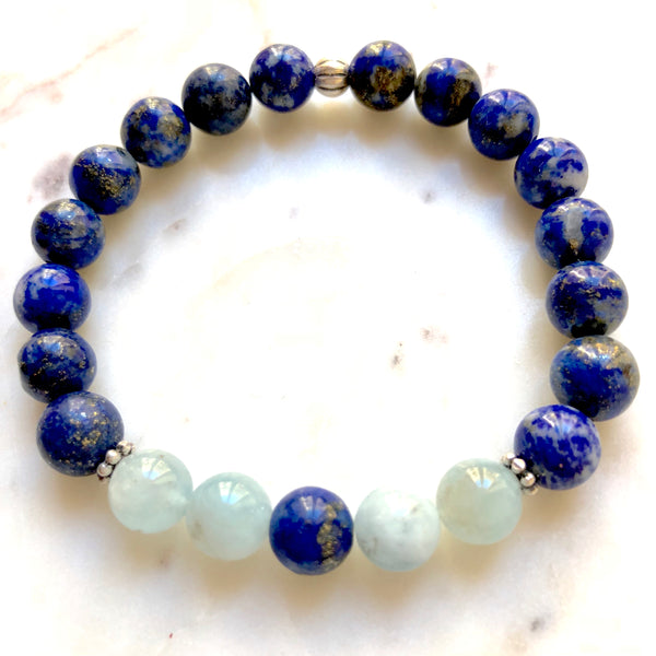 Aria Mala Atelier's unique one-of-a-kind Lapis Lazuli, Aquamarine sterling silver  charm yoga bracelet for spiritual living