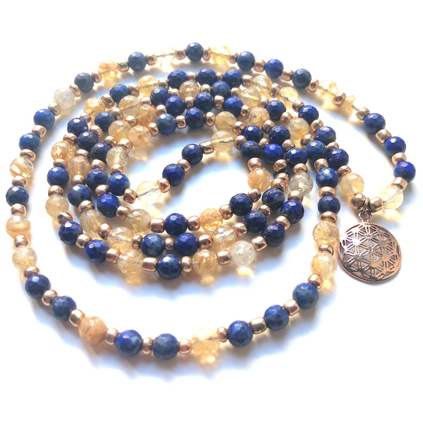 Lapis Lazuli Mala Beads, Citrine Mala Necklace, Flower of Life, Yoga Jewelry, Meditation Beads