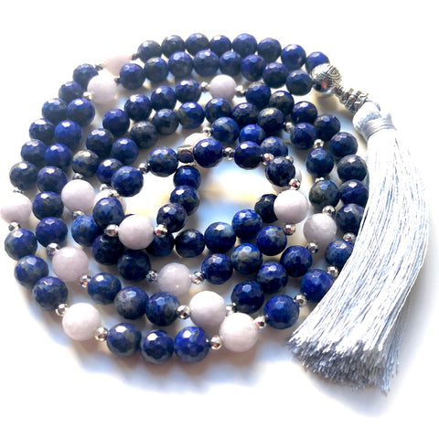 Lapis Lazuli Mala Necklace, Jade Mala Beads, 108 Mala, Yoga Necklace