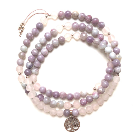Lepidolite Beads, 108 Mala, Matte Rose Quartz Mala Necklace, Tree of Life Charm