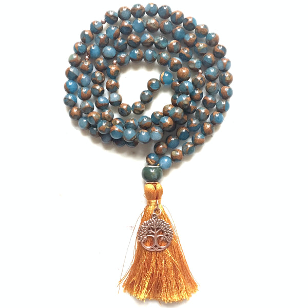 Murano Quartz, Rose Sterling Silver Tree of Life Charm Japa/Meditation Mala