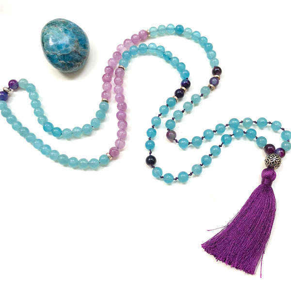 Aria Mala Atelier's unique one-of-a-kind Turquoise Jade, Purple Agate gemstone meditation japa mala is for yoga meditation empowering spiritual daily practise and intention setting