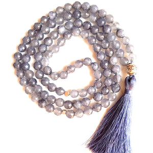 Aria Mala Atelier's unique one-of-a-kind blue jade gemstone meditation japa mala with silver charm is for yoga meditation empowering spiritual daily practise and intention setting