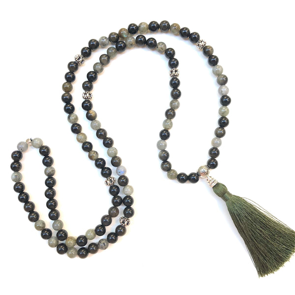 Aria Mala Atelier's unique one-of-a-kind Protective Labradorit and Obsidian gemstone meditation japa mala with silver charm is for yoga meditation empowering spiritual daily practise and intention setting