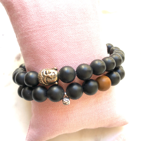 Strength Giving Black Onyx, Sterling Silver OM Charm Yoga Bracelet