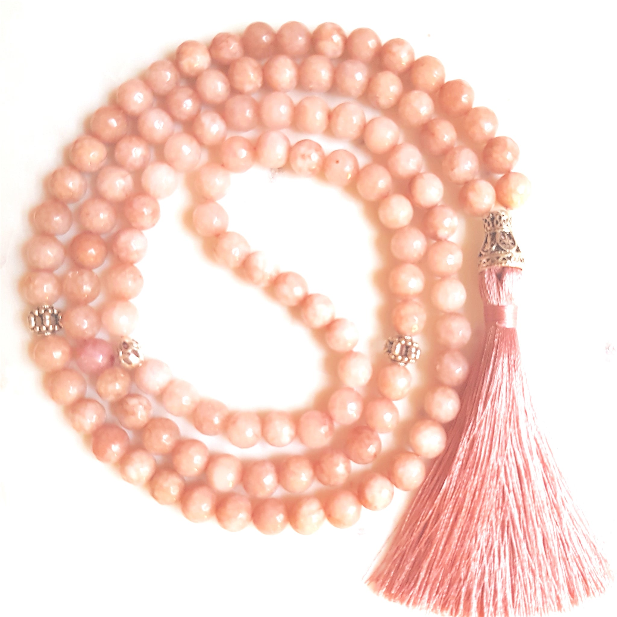 Aria Mala Atelier's unique one-of-a-kind pink jadeite gemstone meditation japa mala is for yoga meditation empowering spiritual daily practise and intention setting