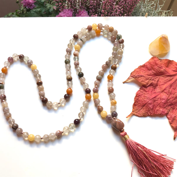 Aria Mala Atelier's unique one-of-a-kind Colorful Quartz, Moonstone guru bead is for yoga meditation empowering spiritual daily practise and intention setting