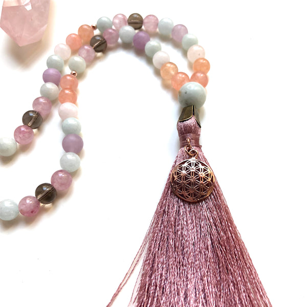 Aria Mala Atelier's unique one-of-a-kind jade, smoky quartz with rose silver life's tree charm is for yoga meditation empowering spiritual daily practise and intention setting, mindfulness
