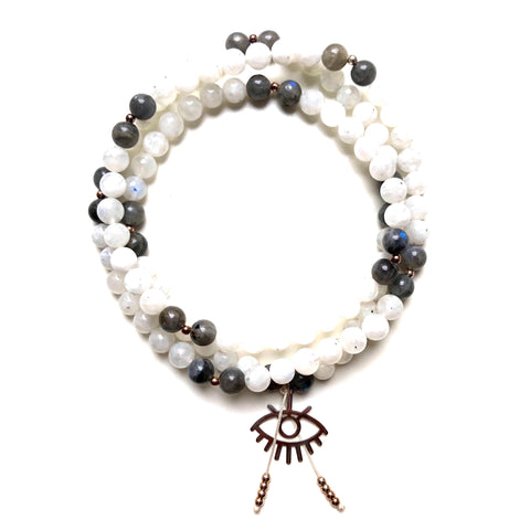 Labradorite Beads, 108 Mala, Moonstone Mala Necklace, RA Charm