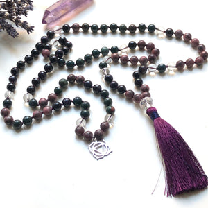 Rhodonite, Bloodstone, Jade, Quartz 108 Beads Mala, Tassel Necklace, Yoga Jewelry, Meditation Beads