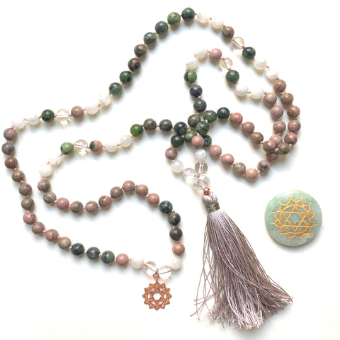 Rhodonite, Moonstone, Original Jade, Quartz 108 Beads Mala, Tassel Necklace, Yoga Jewelry, Meditation Beads