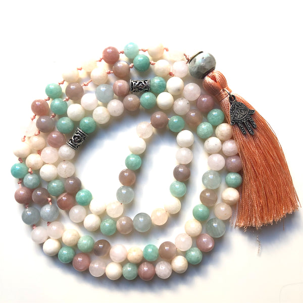 Amazonite Mala Beads, Hamsa, Aquamarine Yoga Necklace, Sunstone Yoga Schmuck