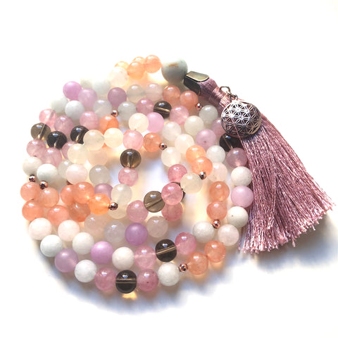 Aquamarine Mala Beads, Smoky Quartz, Jade Mala Necklace, 108 Mala, Yoga Jewelry, Meditation