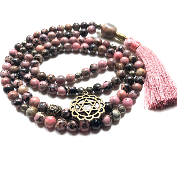 Rhodonite Mala Beads, Pyrite Necklace, Yoga Necklace, Moonstone, Heart Chakra Charm, Yoga Jewelry