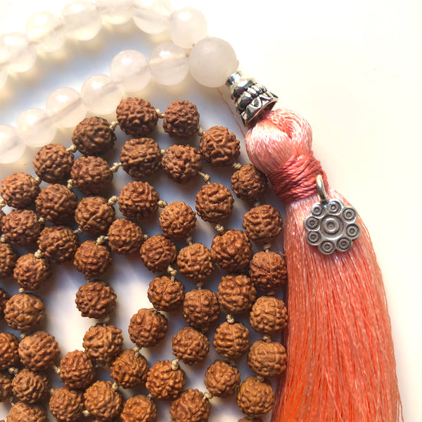 Rose Quartz Mala Beads, Rudraksha Prayer Beads, Yoga Jewelry, 108 Mala, Tassel Necklace