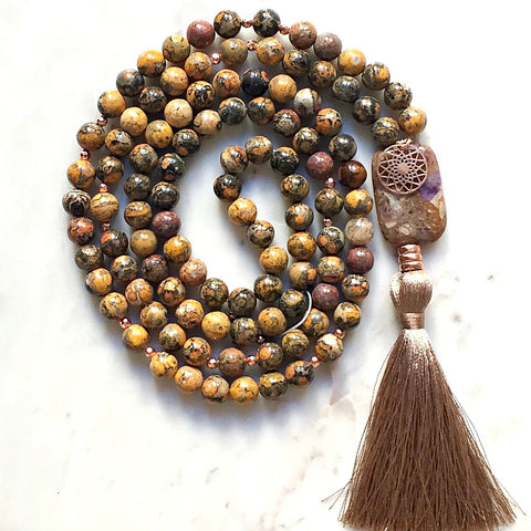 Aria Mala Atelier's unique one-of-a-kind brown jasper gemstone meditation japa mala with mandala charm is for yoga meditation spiritual daily practise