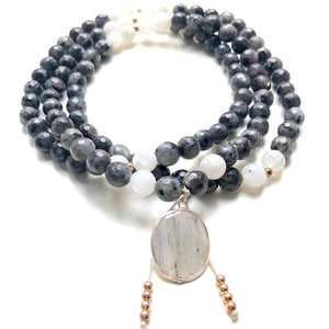 Spectrolite Beads, 108 Mala, White Moonstone Mala Necklace, Quartz Charm