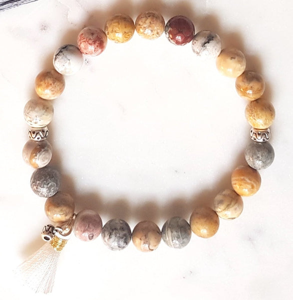 Parinama (Transformation) Sky Eye Jasper Yoga Bracelet