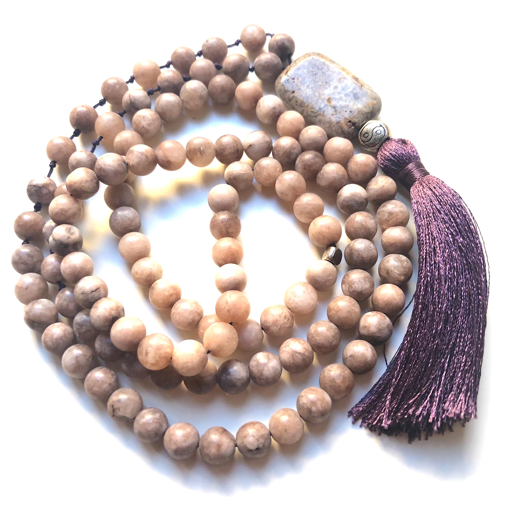 Smoky Jade Mala Beads, Yin&Yang Charm, Yoga Schmuck, 108 beads, Mala Necklace, Meditation