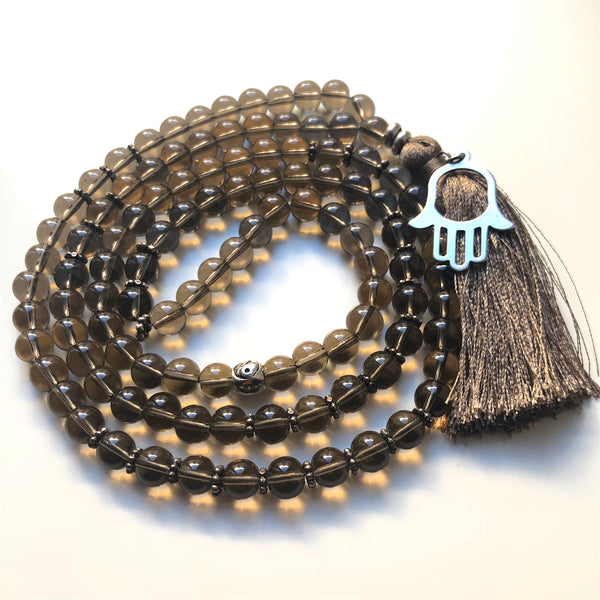 Smoky Quartz Mala Beads, Hamsa, 108 Mala, Mala Necklace, Yoga Jewelry