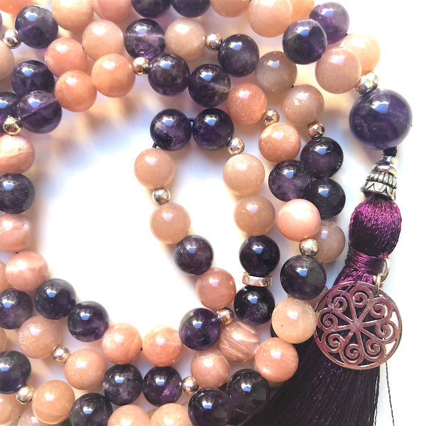 Moonstone Mala Beads, Amethyst Mala Necklace, 108 Mala, Yoga Jewelry, Meditation Beads