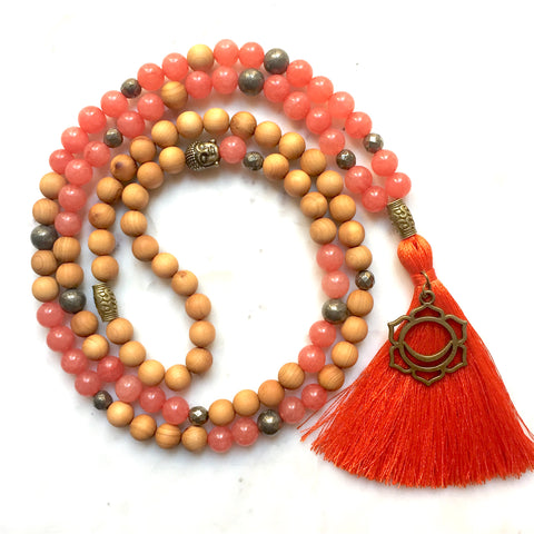 Aria Mala Atelier's unique one-of-a-kind tangerine, Sacral Chakra, Jade, Pyrite, Sandalwood Japa Mala is for yoga meditation empowering spiritual daily practise and intention setting