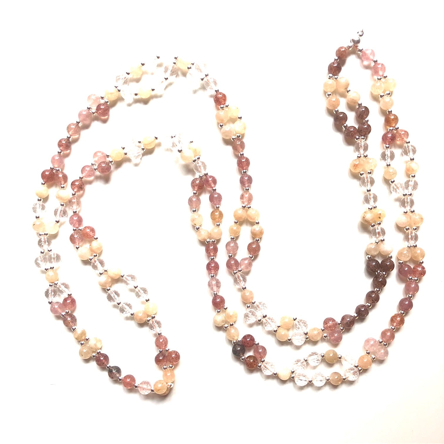 Tantric Mala Necklace: Strawberry Quartz, Sunstone, Crystal Quartz 6 mm.