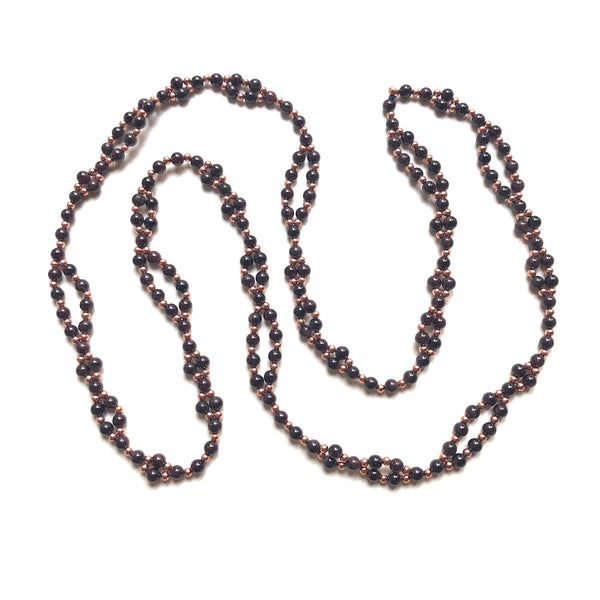 garnet tantric mala necklace 6 mm