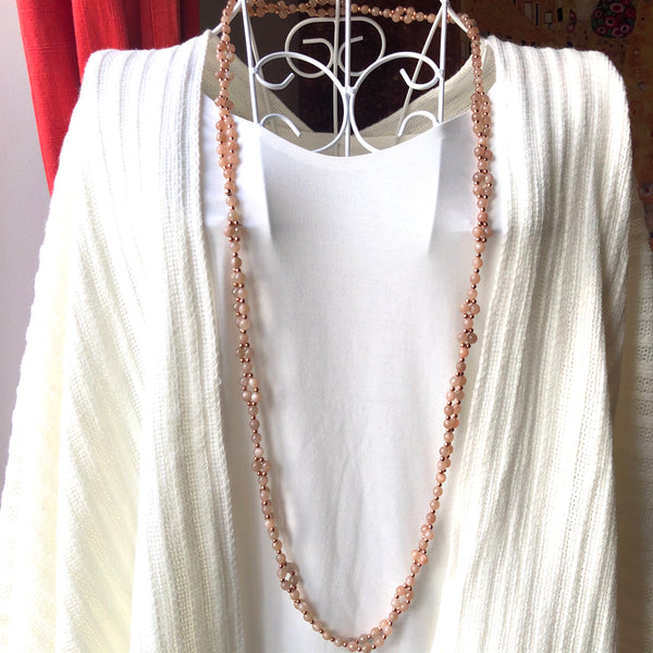 Tantric Mala Necklace: Rose Moonstone Faceted 6 mm.