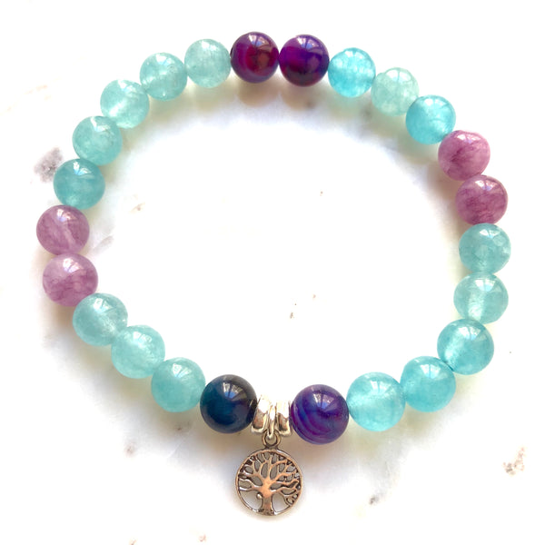 Aria Mala Atelier's unique one-of-a-kind Turquoise Jade Purple Agate with Tree of Life charm for spiritual living