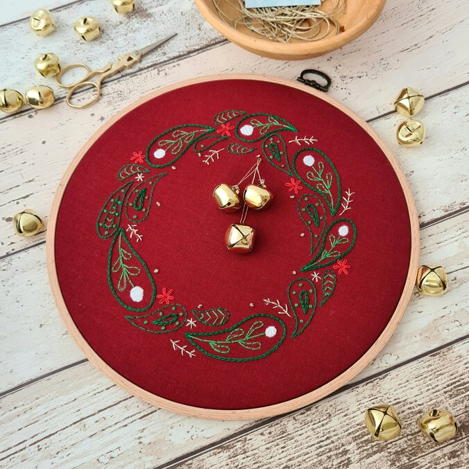 An embroidered christmas wreath