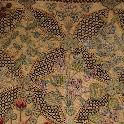 Image of Annie Eastwood historic cushion Crewelwork
