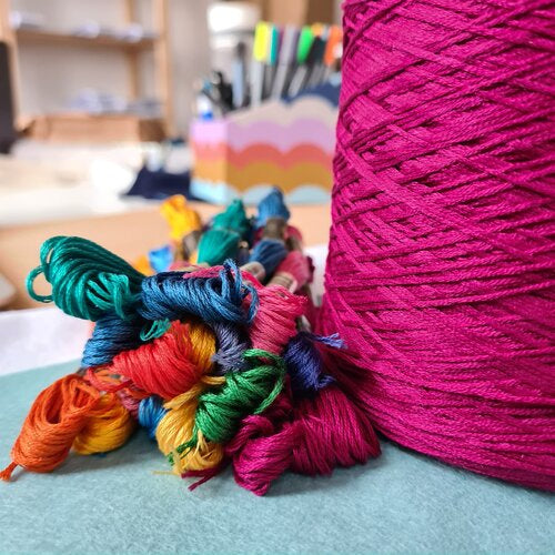 Embroidery floss skeins next to a cone