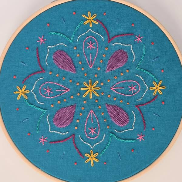 Photo of an embroidery sampler pattern on teal fabric