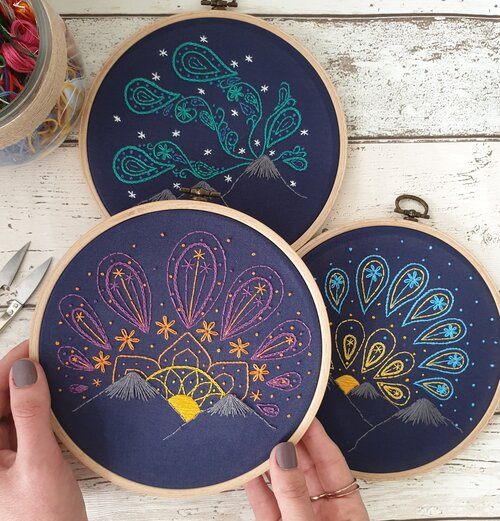Paraffle's embroidered paisley skies set