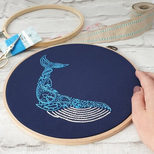 Photo of paraffle blue whale embroidery pattern on navy fabric