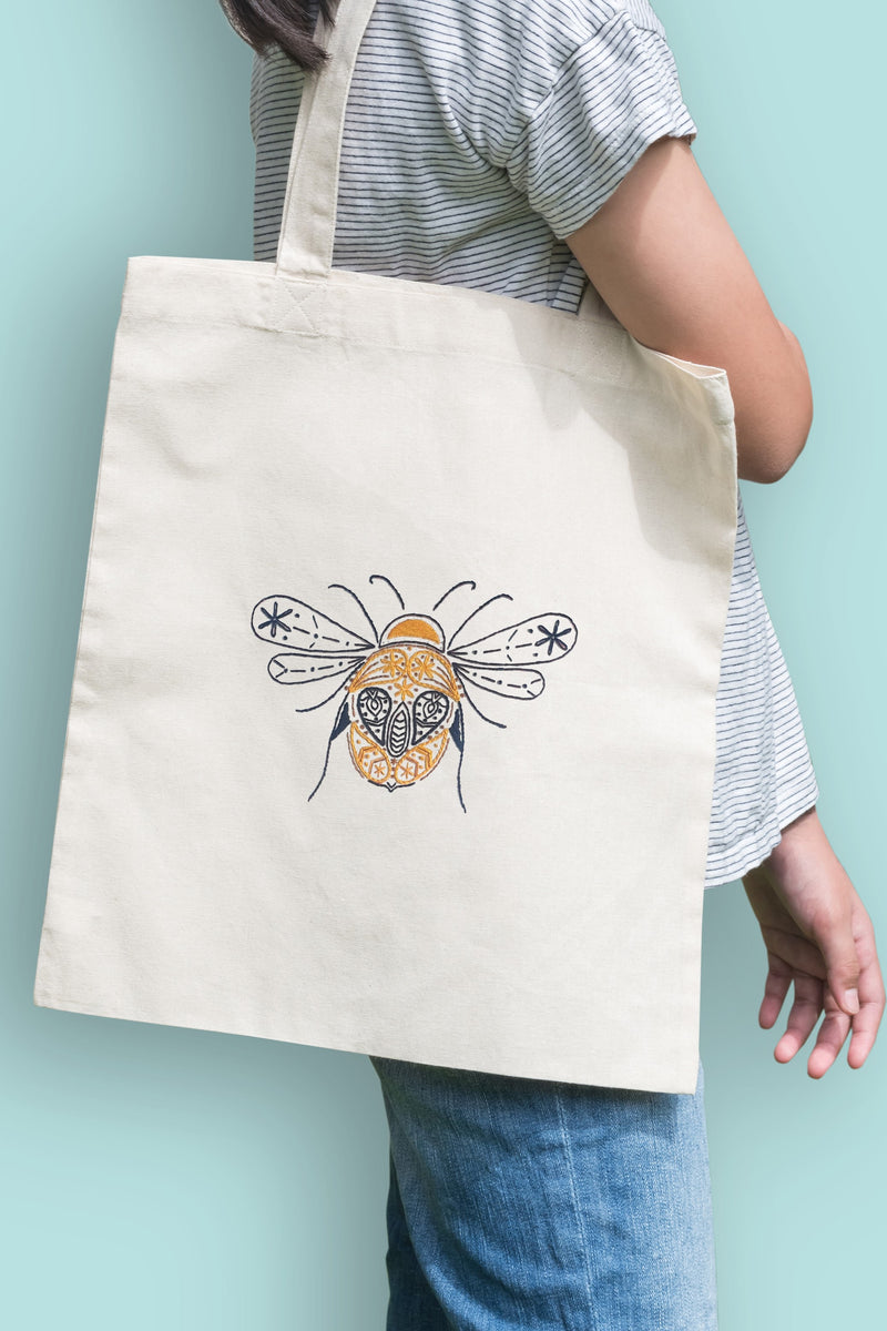 Natural, organic cotton, Bee tote bag Embroidery kit