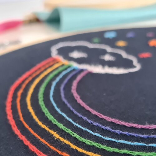 Photo of rainbow embroidery pattern